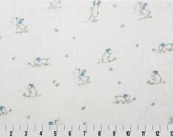 Puppy Embrace Double Gauze Swaddling Cloth in White/Sky Blue by Shannon Fabrics
