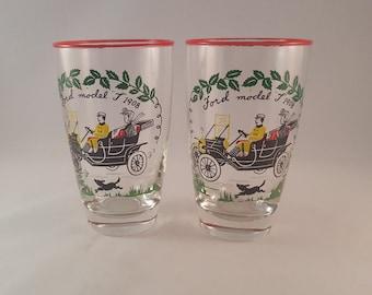 "Libbey Ford Model ""T"" 1908 Glasses - Set of 2"