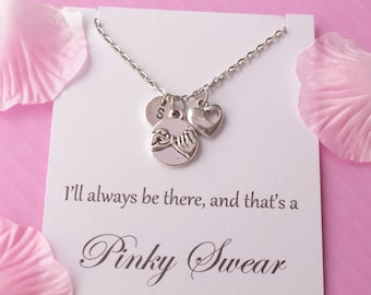 friendship gift, pinky promise necklace, gift for sister, Message card necklace, inspirational message necklace, birthday gift,