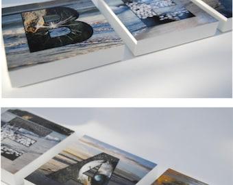 RESERVED Beach word art block mounted prints ocean sea side photography, summer, beach home decor, seaside, ocean theme