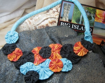 Fabric Yoyo Statement BIb Bubble Necklace Made in Hawaii Hot Lava meets Ocean Blue Handmade