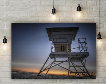 San Diego Beach Wall Art -- Lifeguard Stand Print-- Beach Decor -- Large Beach Print - Aluminum Metal Art - Ocean Photography - Large Canvas