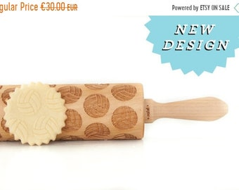 SALE Rolling pin engraved VOLLEYBALL! Embossing rolling pin, laser engraved rolling pin NEW pattern *** Birthday  gift  ***