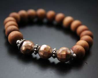SALE Originally 32.00 Now 25.00 - Sandalwood and mosaic shell bracelet brownlip oyster shell bead aromatic boho cowgirl stretch bracelet