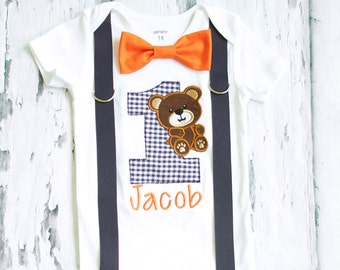 Baby Boy First Birthday Teddy Bear themed first birthday bow tie suspender set Boy one year cake smash Blue gingham themed first Orange
