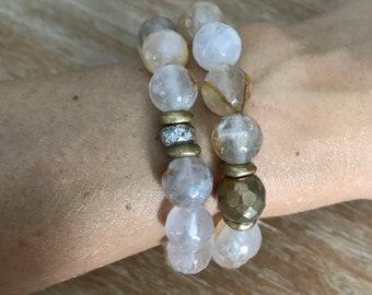 Natural yellow rutilated quartz beaded bracelet
