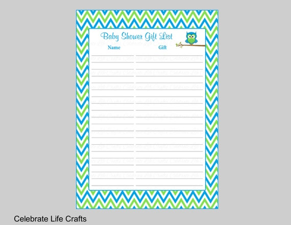 Owl Baby Shower Gift List Printable Gift Record Sheet For