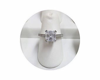 Asscher Cut Engagement Ring | Asscher Cut Bridal Engagement Ring | Asscher Cut Ring | Asscher Cut Wedding Engagement Ring | Sterling