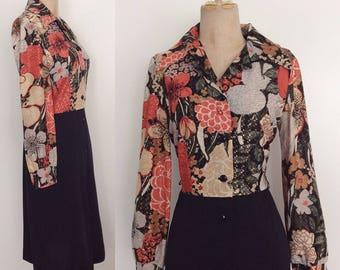 1970's Floral & Black Two Tone Dress Button Up Shirtwaist Dress Size Medium by Maeberry Vintage