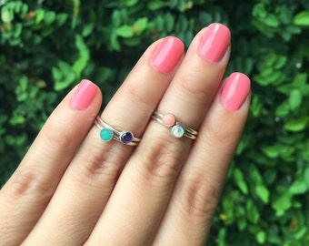 Stacking Rings, Gemstone Rings, Silver Stack Rings, Teal Blue Amazonite, Pink Coral, Purple Amethyst, Simulated Opal, Pink Ring, Summer Ring