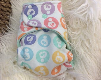 Pastel Rainbow Breastfeeding Logo with mint inner One Size Hybrid Fitted Cloth Diaper