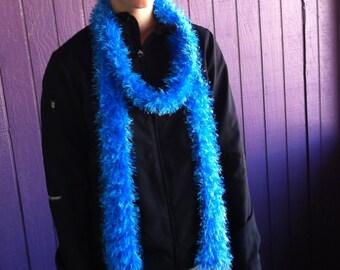 Electric blue eyelash fashion scarf. 2.5 inches by 77 inches (6.5 feet).