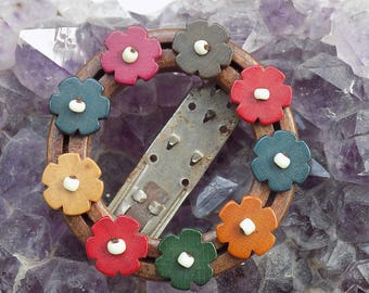 Vintage Floral Dress Fur Clip | Floral Fur Dress Shawl Clip