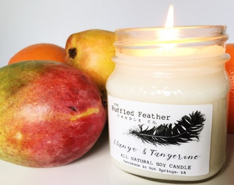Mango & Tangerine Soy Candle, All Natural Soy Candle, 10oz, The Farmer's Market @ The Ruffled Feather Candle Co.