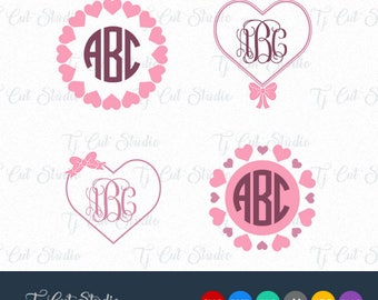 Heart Circle Monogram, Valentines Day SVG, Svg Files for Silhouette Cameo or Cricut Commercial & Personal Use.
