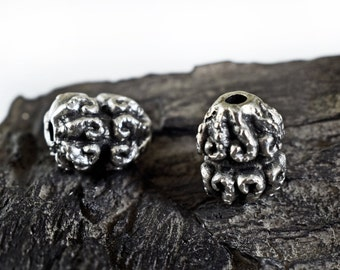 Large Spacer Beads 15x11mm, Ethnic Patterned Beads, Bali Style Beads, Antique Silver finish