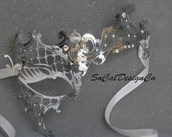 Phantom, Silver Mask, Masquerade Mask Woman, Eye Mask, Venetian Mask, Woman, Prom, Masquerade, Laser Cut, Sexy Mask, Woman Masquerade Mask