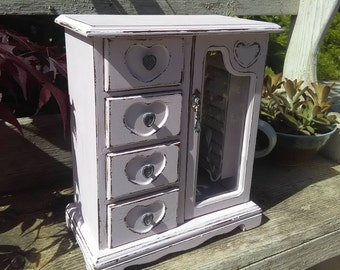 Vintage Armoire Jewelry Box Pale Pink Shabby Chic Up-cycled