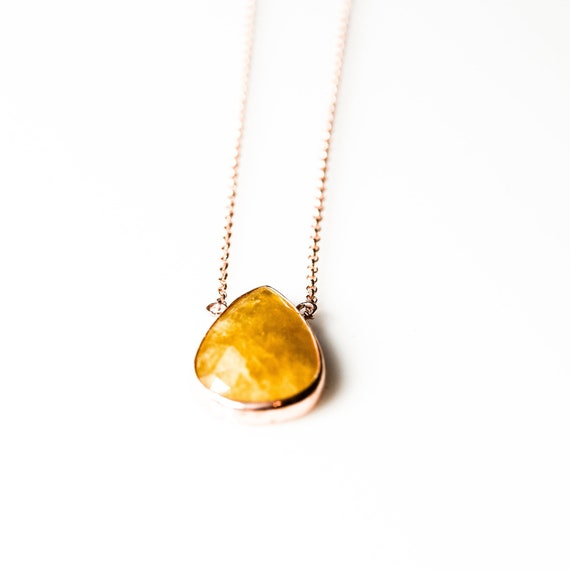 Sterling Silver Yellow Aventurine Necklace, Rose Gold Necklace , Natural Gemstone , Minimalist,  Dainty Necklace, For Her, Healing Crystal