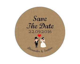 "Wedding ""Save the Date"" magnet, badge, mirror, bottle opener Vintage"
