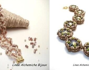 Doppio Tutorial di bracciali con perline Rulla,Superduo, Swarovski, rocailles e mezzi cristalli