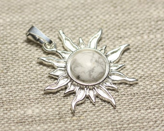 Pendant 925 sterling silver and Howlite stone - Sun 28 mm - 10mm round