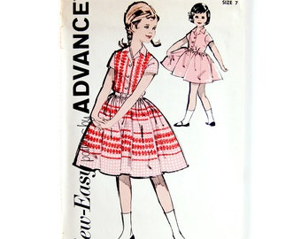 1960s Vintage Sewing Pattern - Girls Rockabilly Party Dress - Advance 2820 Vintage Sewing Pattern / UNCUT FF / Size 7 or 8