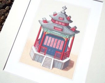 Chinoiserie Pagoda Architectural Drawing 8 Archival Quality Print on Watercolor Paper