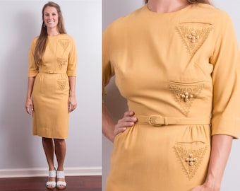 Vintage 1950s Mustard Gold Yellow Elbow Length Three Quarter Sleeve Pencil Wiggle Dress * Size Small * Free Shipping