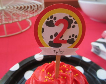 Personalized Paw Patrol Cupcake Toppers (12) Dalmation Dog, Paw Patrol Marshall