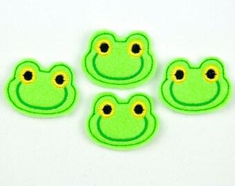 FROG - Embroidered Felt Embellishments / Appliques - Lime Green  (Qnty of 4) SCF6090