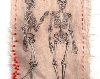 """Art drawing print from original Ink Drawing on teabag, ink drawing, Kabbalah, anatomical skeleton, teabag art, """"Vanities"""" mixed media"""