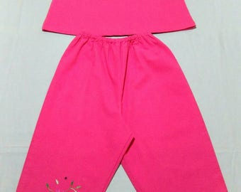 Pink girl clothing set hand embroidered, handmade clothes for gilrs,