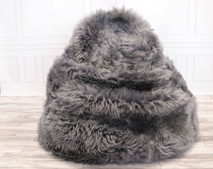 Sheepskin Beanbag Gray | Sheepskin Bean Bag | Sheepskin Pouf | Brown Bean Bag Huge Bean Bag Furry Bean Bag | Bean Bag | Beanbag |