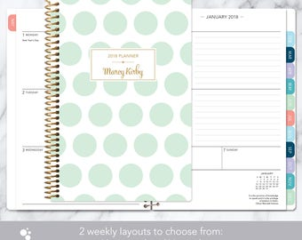 2018 planner calendar choose start month | add monthly tabs weekly student planner personalized agenda daytimer | mint and gold polka dots