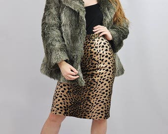Vintage Grey Faux Fur Jacket