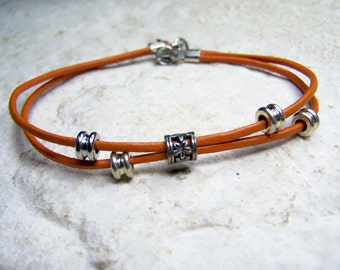 Beach Anklet, Gold Leather Anklet, Two Strand Leather, Sizes 6-12 Inch, Ankle Accessorie, Orange, Ankle Bracelet