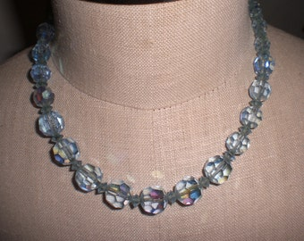 Reserved For Barbara!!! Vintage Light Blue Iridescent Glass  Graduated Brass Crystal Necklace 1950s 60s Ajustable