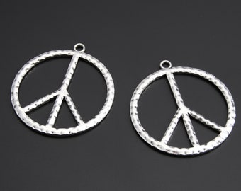10pcs Antique Silver Peace Sign Charms Pendant A2423