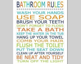 Bathroom Rules - Bathroom Decor Kids Bathroom Art - Kids Bathroom Decor - Bathroom Rules Sign - Brush Wash Flush - CHOOSE YOUR COLORS