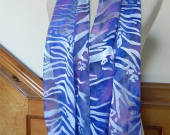 Devore satin silk scarf hand dyed in shades of sky blue and peony pink is ready to ship, scarf #519