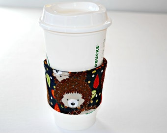 Hedgehog Coffee Cozy, Home and Living Cozy, Housewares Covers and Cozies, Ecofriendly Cozy, Handmade Coffee Sleeve, Spring Celebrations