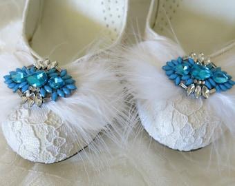 Shoe Clips, Wedding Shoe Clips, Bridal Shoe Clips, Rhinestone Shoe Clips, Feather Shoe Clips, Something Blue