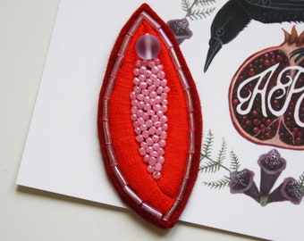Vulva Hand Embroidered Patch/Brooch