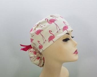 Surgical Cap ponytail stile-Flamingo-cotton 100%