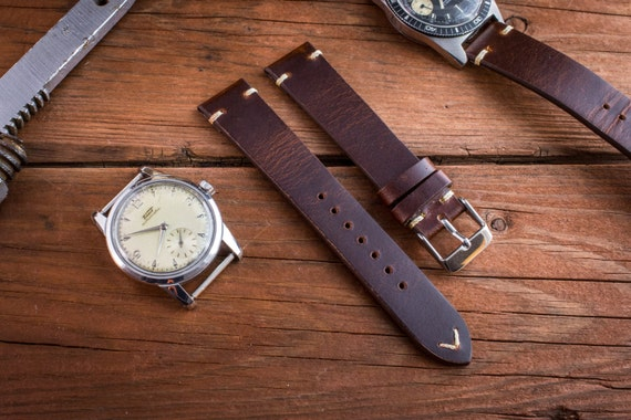 Vintage style dark reddish brown leather strap for watches for Violet leather strap watch