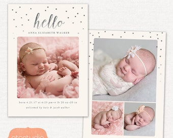 Birth Announcement Template - Silver Star CB070 5x7 card - INSTANT DOWNLOAD