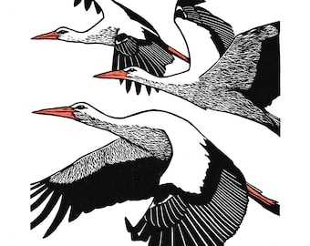 White Storks Linocut Print Hand-coloured Limited Edition