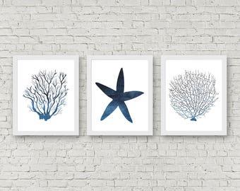 Set Of 3 Art Prints - Seaweed /Starfish /Coral Printable Wall Art - Sea Life Art Set - Marine Life Poster - Watercolor Sea Creatures