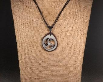Carved Triskel Tagua Nut Necklace